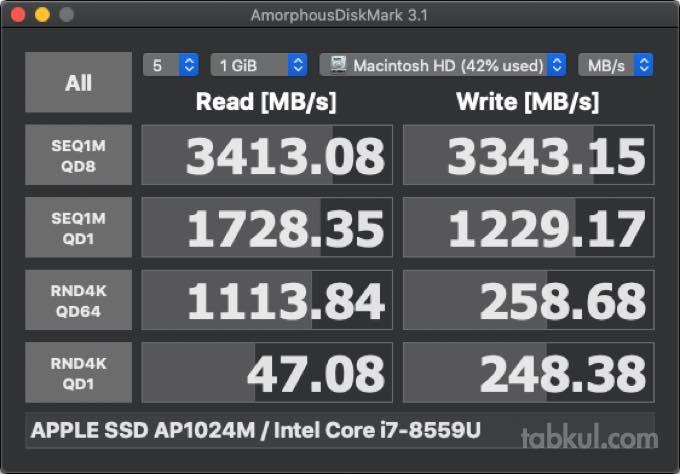 APPLE SSD AP1024M  Intel Core i7 8559U